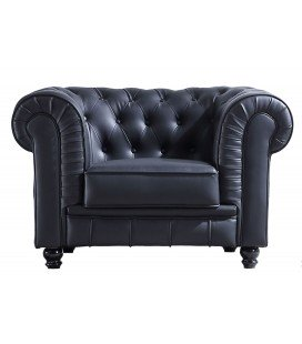 Sofá Chesterfield Negro 1 Plaza