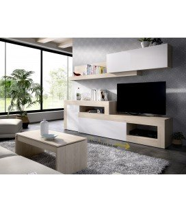 Composición Salón TV Lebo flexible 260-300 Natural/Blanco Brillo