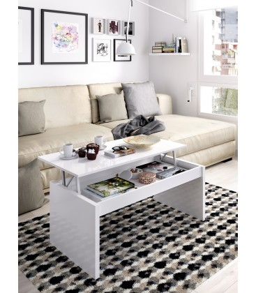 Mesa de Centro Elevable Side Blanco Brillo