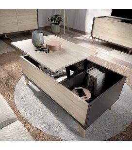 Mesa Centro Elevable Ness Grafito/Natural