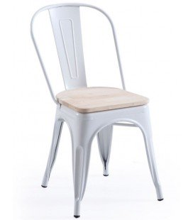 Pack de 4 Sillas Tolix Blanco/Asiento Roble Nordish