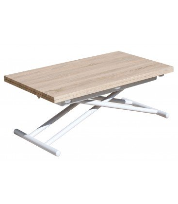 Mesa Centro Elevable/Extensible Up-Down Blanco/Roble